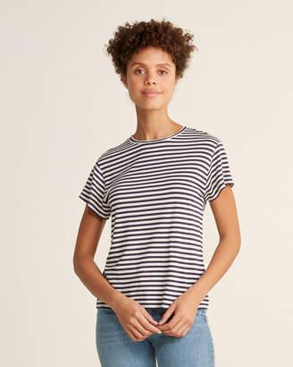 Vince Striped Short Sleeve Silk-Blend Crew Neck Tee