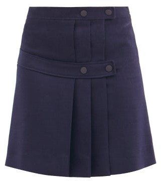 See by Chloe Pleated-twill Mini Wrap Skirt - Navy
