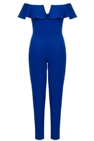 Quiz Royal Blue Bardot Frill Tight Leg Jumpsuit
