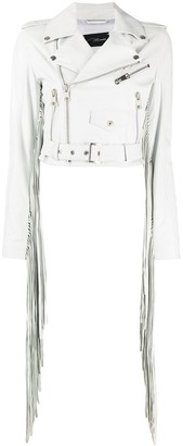Manokhi Cropped Fringe Detail Jacket