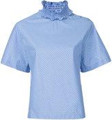 Le Ciel Bleu striped ruffle trim blouse - women - Cotton - 36