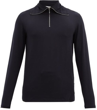 Jil Sander Quarter-zip Cotton-blend Long-sleeved T-shirt - Dark Blue