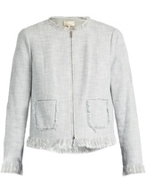 Rebecca Taylor Fringed collarless cotton-blend jacket