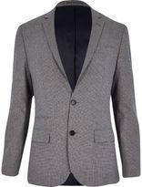 River Island Grey Dogtooth Slim Suit Jacket