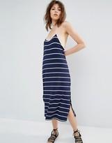MANGO Fine Stripe Midi Dress
