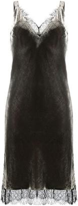 Gold Hawk Lace-Trim Velvet Midi Dress