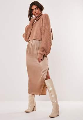 Missguided Mocha Satin Slip Midi Skirt