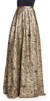 Carmen Marc Valvo Floral Metallic Jacquard Ball Skirt