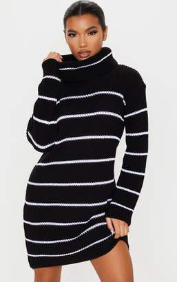 PrettyLittleThing Black Narrow Stripe Knitted Jumper Dress