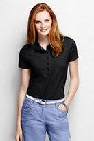 Lands' End Women's Petite Slim Fit Pique Polo Shirt-Black