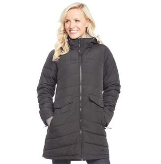 Trespass Womens Homely Padded Hooded Long Jacket Black