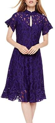 Damsel in a Dress Fluted Hem Lace Overlay Dress, Bright Purple
