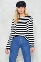 Nasty Gal No Place Like Monochrome Striped Sweater