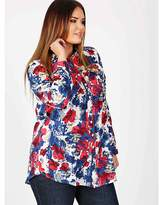 Koko red and blue floral print shirt