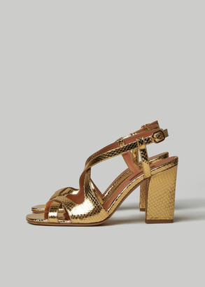 Rachel Comey Women's Deuce Heel Shoes in Gold Size 38 Calfskin Leather