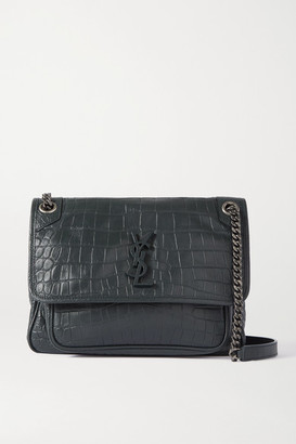 Saint Laurent Niki Medium Croc-effect Leather Shoulder Bag - Dark green