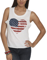 Wet Seal WetSeal Flag Heart Screen Tank White