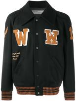 Off-White patch detail varsity jacket - men - Cotton/Nylon/Polyamide/Virgin Wool - S
