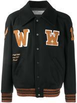 Off-White patch detail varsity jacket - men - Cotton/Nylon/Polyamide/Virgin Wool - S