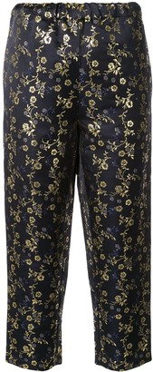 Marni flower jacquard cropped trousers