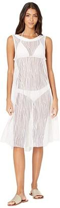 Carmen Marc Valvo Monaco Tides High Neck Mesh Cover-Up Dress w/ All Over Sequins (White) Women's Swimwear