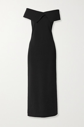 The Row Joni Off-the-shoulder Stretch-cady Maxi Dress - Black