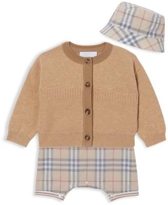 Burberry Baby's 3-Piece Chet Cardigan, Bodysuit & Hat Set