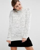 Fashion Union Oversized High Neck Knitted Sweater In Space Dye