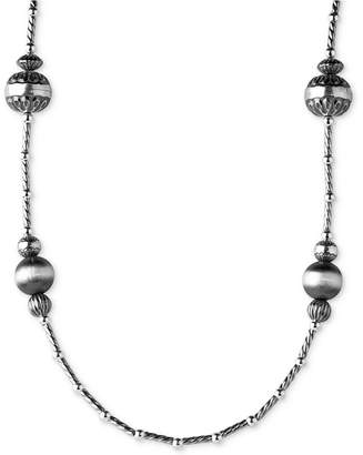 American West Multi-Bead Long Statement Necklace in Sterling Silver