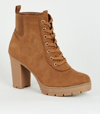 New Look Wide Fit Lace Up Heeled Hiker Boots