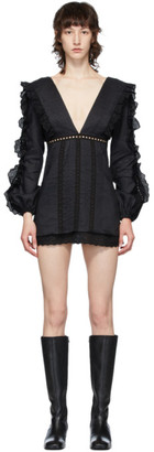 Wandering Black Deep V Ruffle Dress