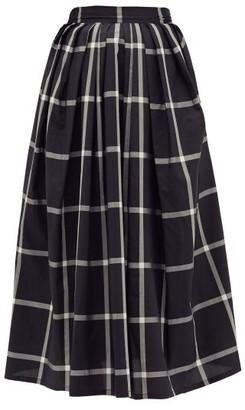 Thierry Colson Kirov Check-print Cotton-blend Midi Skirt - Black White