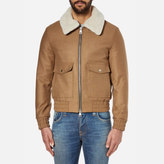Ami Shearling Collar Wool Jacket Camel