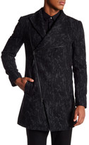 Religion Patterned Side Zipper Coat