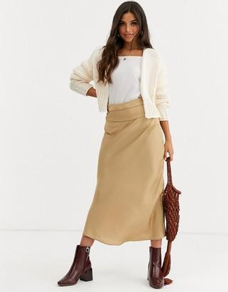 Free People Normani sateen bias midi skirt-Gold