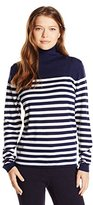 Lacoste Women's Long Sleeve Placement Stripe Wool Turtleneck Sweater