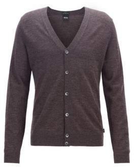 BOSS V-neck cardigan in extra-fine Italian merino wool