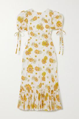 The Vampire's Wife Ruffled Floral-print Cotton Wrap Dress - Ecru