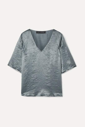 Sally LaPointe Crinkled-satin Top - Gray green