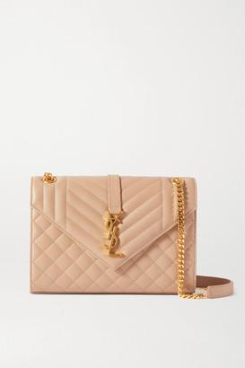 Saint Laurent Envelope Medium Quilted Textured-leather Shoulder Bag - Beige