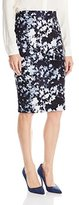 Vince Camuto Women's Floral Back Zip Scuba Pencil Skirt