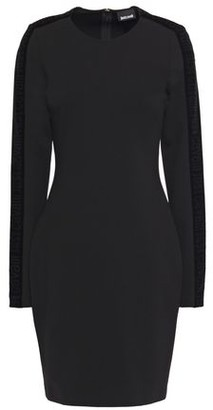 Just Cavalli Velvet-trimmed Stretch-jersey Mini Dress