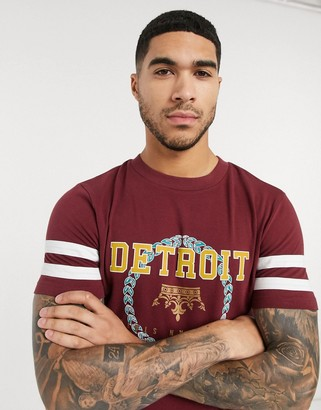 Asos DESIGN organic cotton skinny t-shirt with color block sleeves and city print