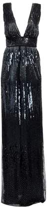 Burnett New York Embellished Deep V-Neck Gown