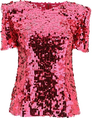Dolce & Gabbana Short Sleeved Sequinned Top