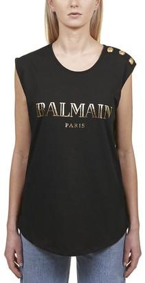 Balmain Embellished Logo Tank Top