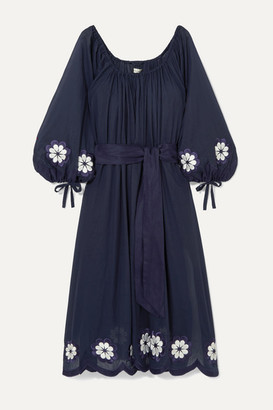Innika Choo Frida Wailes Off-the-shoulder Belted Embroidered Cotton-voile Dress - Navy