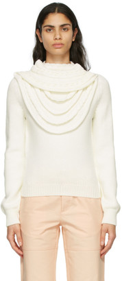 Loewe White Wool Braided Collar Sweater