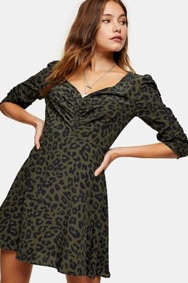 Topshop Khaki Ruched Front Mini Dress