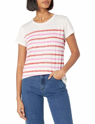 Majestic Filatures Women's Linen/Elastane Striped Short Sleeve Crew Neck